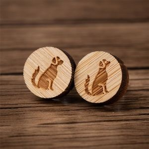 Urban Outfitters Vintage Wooden Dog Stud Earrings